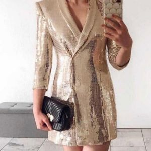 Zara blazer dress jacket Blogger BCBG Metallic S/M